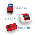 Image of Diabetes instruments from HemoCue, Glucose, HbA1c and Albumin