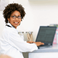 Female doctor joining e-learning session