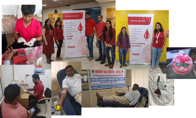 HemoCue India highlighting WBDD with information in office and visiting blood camps