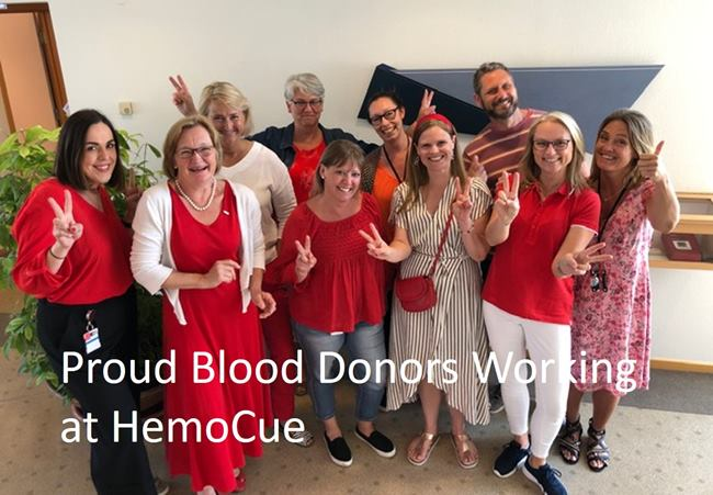 Blood Donors working at HemoCue gathered during World Blood Donor Day 2019